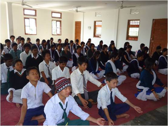 Students meditating in Personality Development Camp