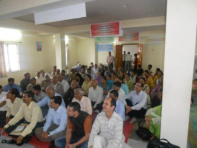 A section of audience during the inauguration of Free Ayurvedic Medical Camp at VK Shimla