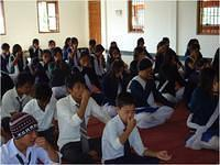 Students doing Pranayam in Personality Development Camp