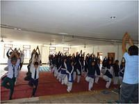 Students doing Yogabhyas in Personality Development Camp